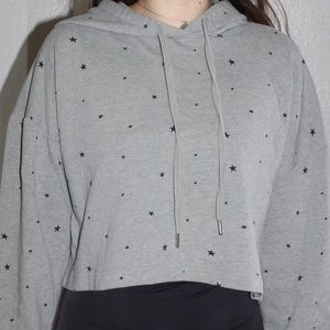 wild fable Tops - Wild Fable Gray Cropped Gray Star Print Hoodie